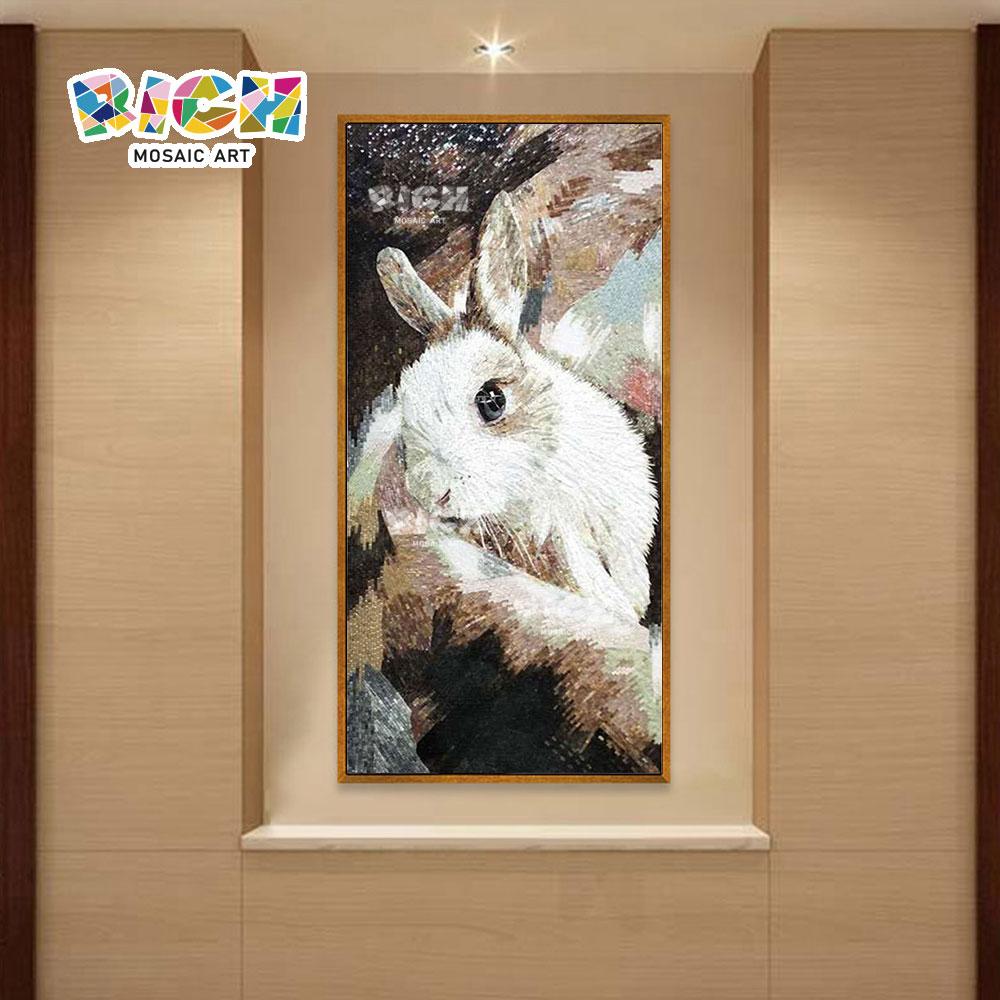 RM-AN55 branco coelho backspalsh mosaico arte mural padrão