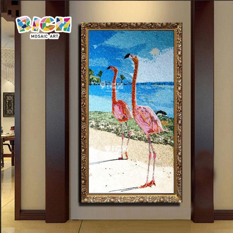 RM-AN57 μεσογειακό φλαμίνγκο ψηφιδωτό πλαίσιο παραλία
