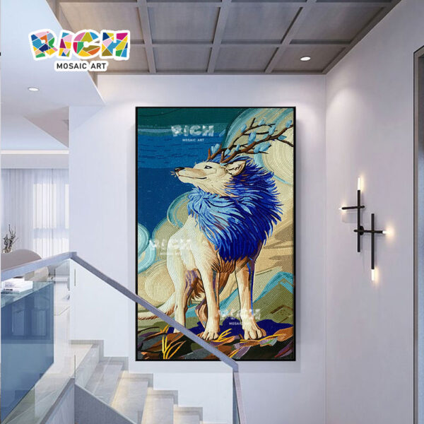 RM-AN59 Studio Mosaic Wolf Design Mural Background Wall