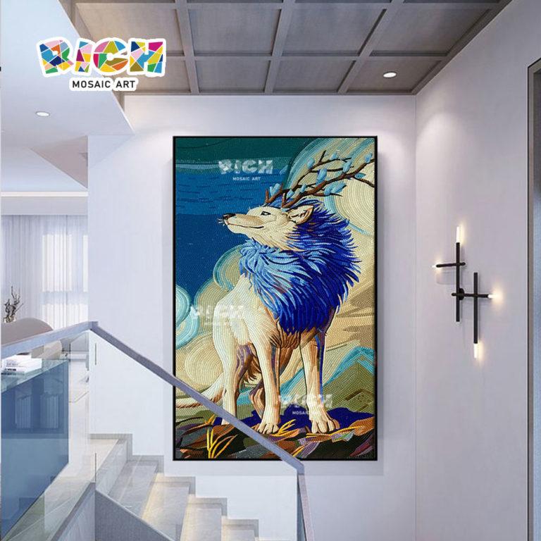 RM-AN59 студия мозаики волк дизайн росписи фона стены