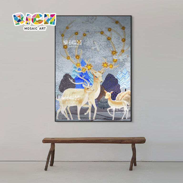 RM-AN60 Lovely-Deer Glass Art mosaïques Mural modèle