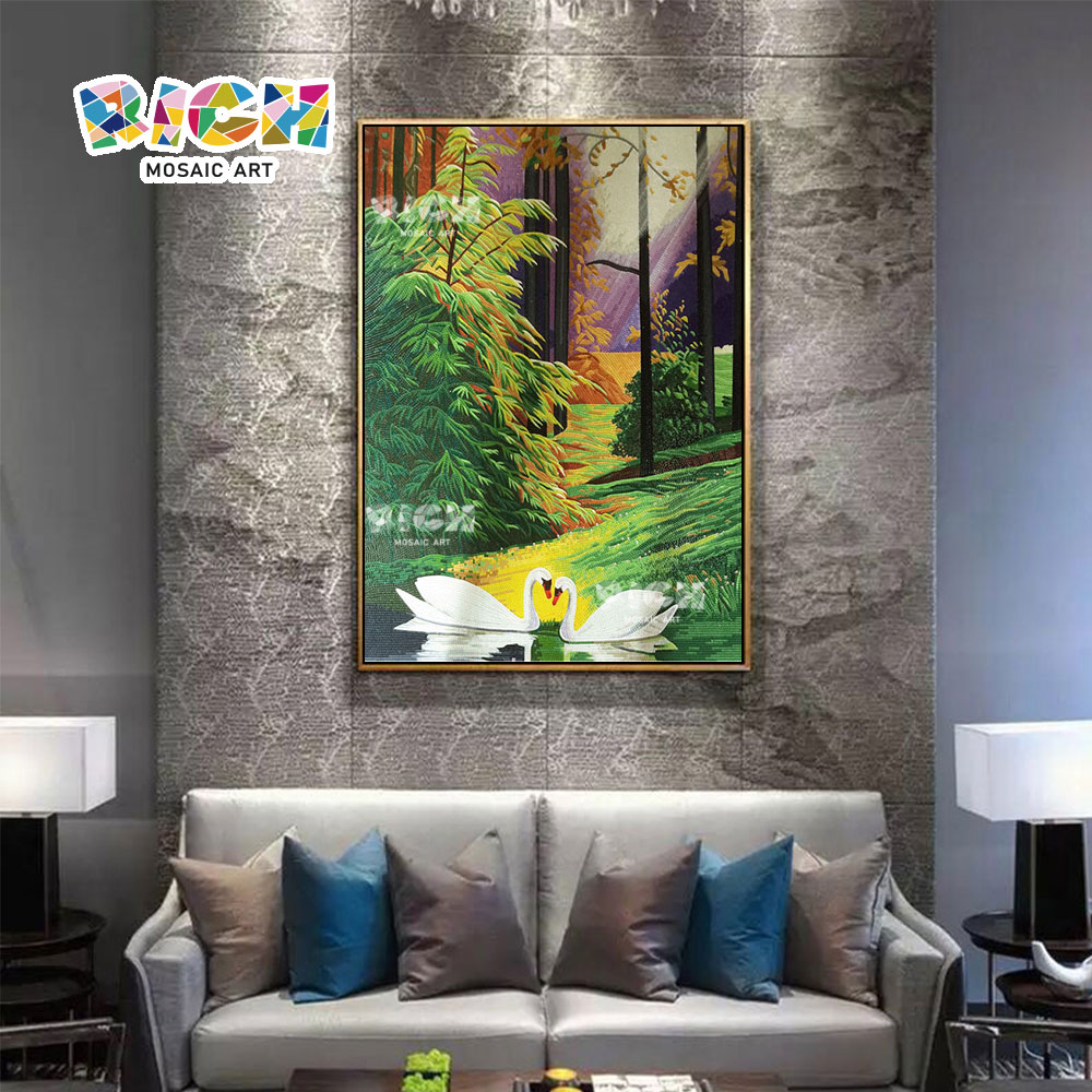 RM-AN62 Sofa Background Swan Pattern Mosaic Mural For Hotel