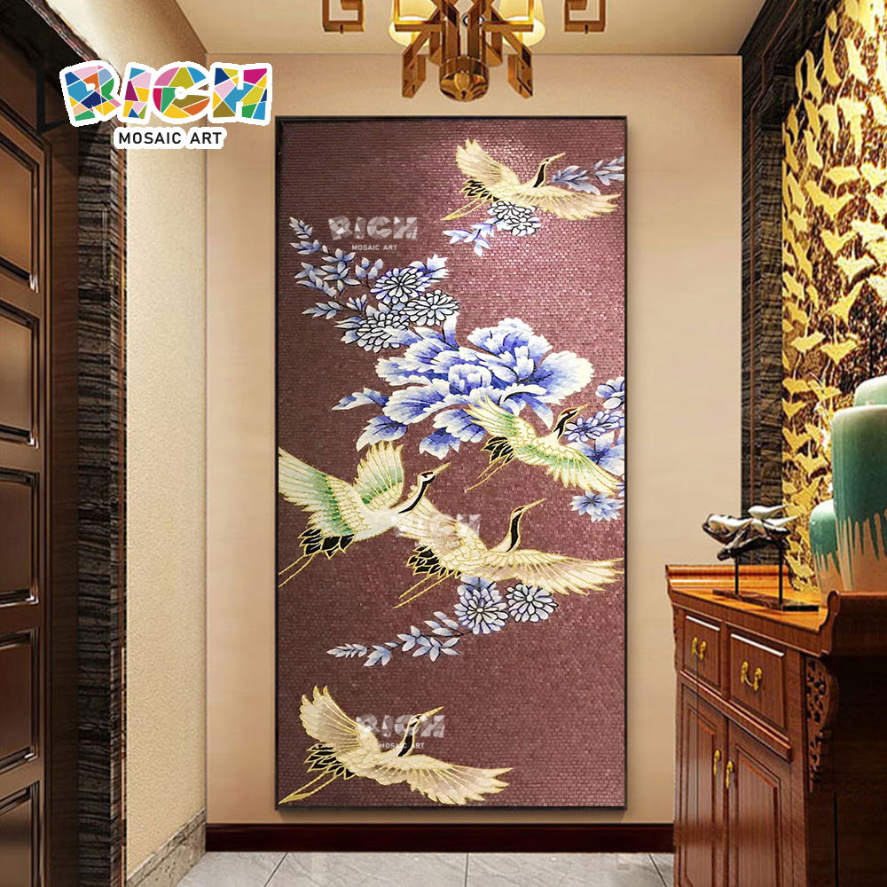 RM-AN63 Modern Elegant Flamingo Crane Mosaic Artwork Handmade Mural