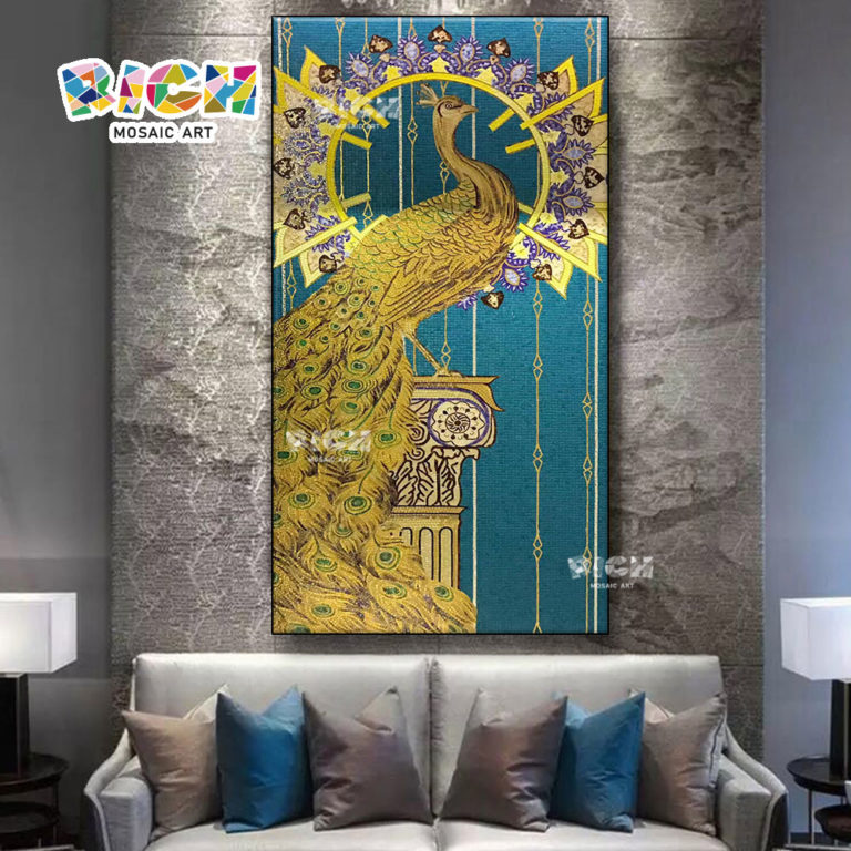 RM-AN64 Gold Peacock Mosaic Mural Design