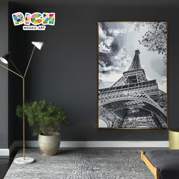 RM-AR01 Fantastic Eiffel Tower European Style Mural Backsplash Crystal Mosaic Tile