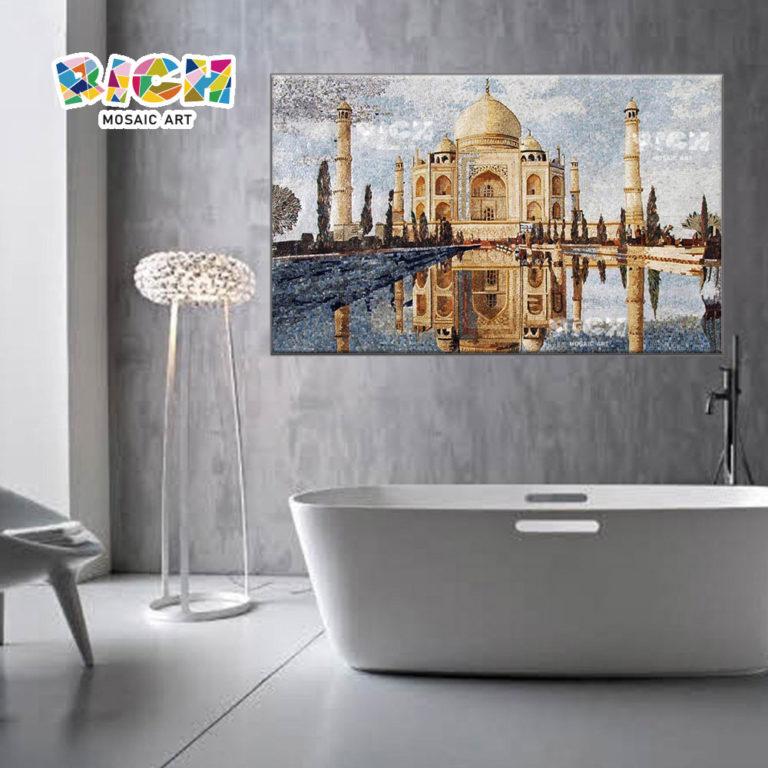 RM-AR02 Taj Mahal Mosaik-Kunst Glas Wandbild Wand schneiden