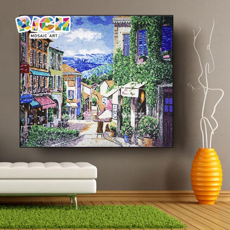 RM AR04 เมืองท่ารูปแบบกระเบื้องห้องแก้วศิลปะโมเสกจิตรกรรมฝาผนัง