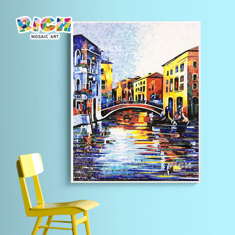 RM-AR05 Beautiful Wall Hanging Glass Mosaic Venice Watertown Picture