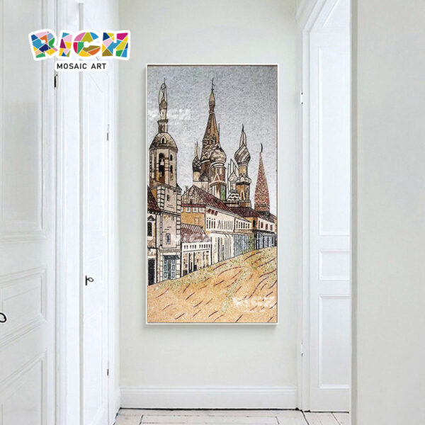 RM-AR06 Russian Architectural Style Glass Handcut Mosaic Panel