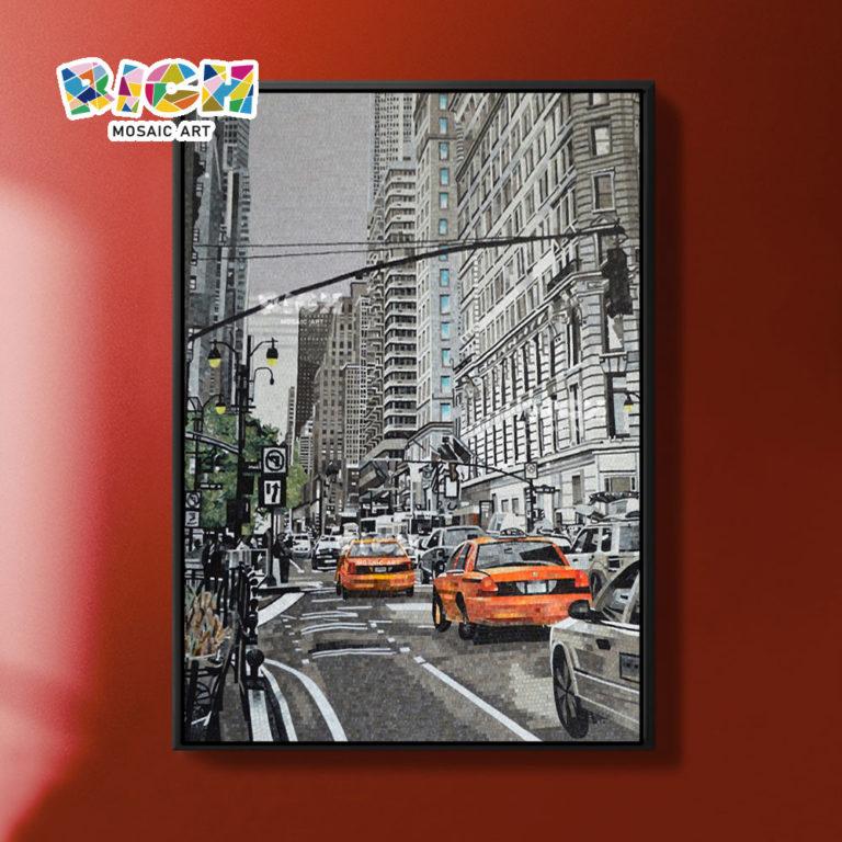 RM-AR10 handgekapte City Street mozaïek muurschildering tegel kunst