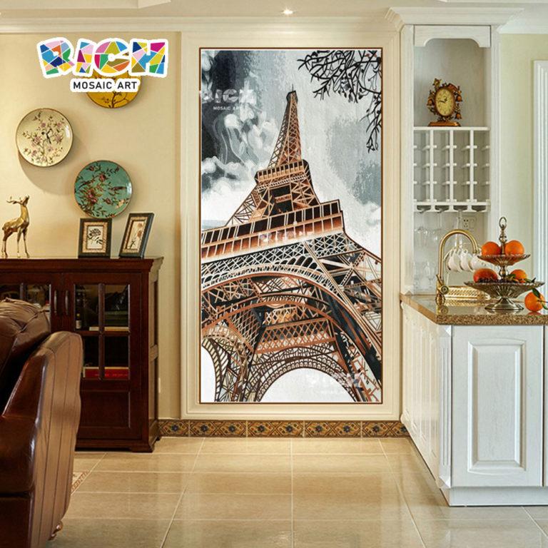 RM-AR13 Haus Wand Dekoration Eiffelturm Glasmosaik