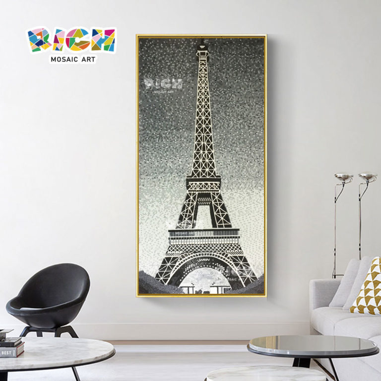 RM-AR17 Modern Mosaic Art Eiffel Tower Design Glass Mural