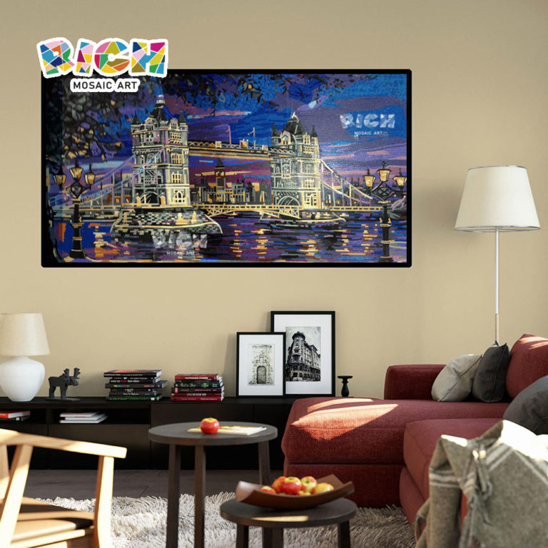 RM-AR19 London Bridge View Handcraft Glass Mural For Living Room