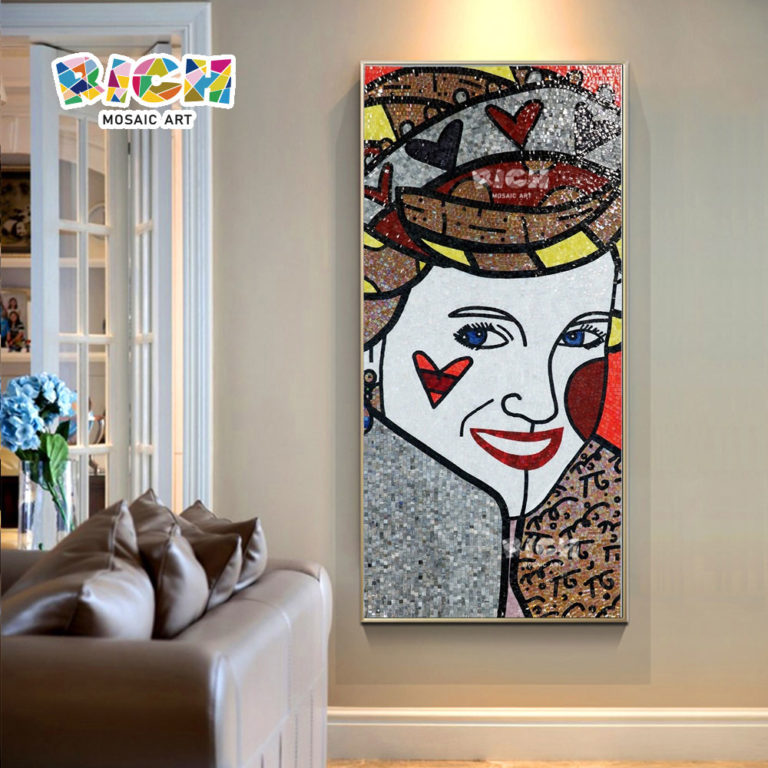RM-FI01 Poker Face Woman Mosaic Art Room Hanging Pictures