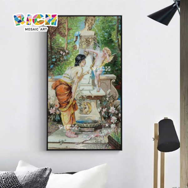 RM-FI03 The Fountain Woman Play With Children Cut Mosaic Art Painting
