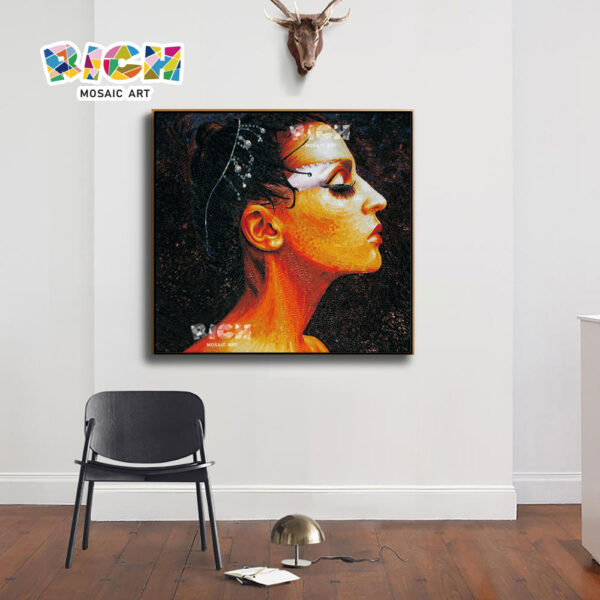 RM-FI07 The Beauty Side Face Manual Mosaic Glass Art
