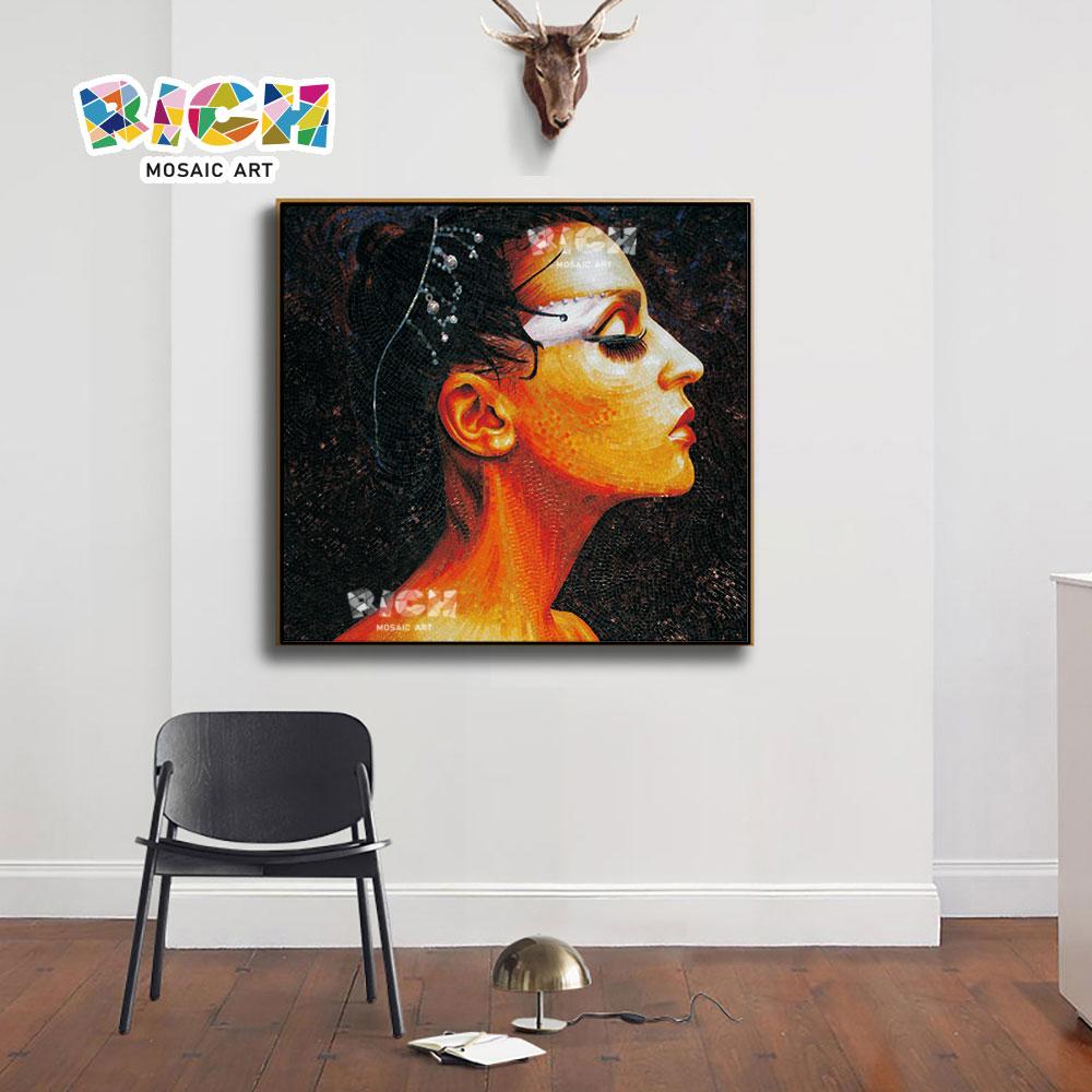 RM-FI07 The Beauty Side Face Manual Mosaic Glass Art