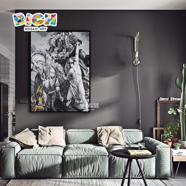 RM-FI14 herói segurando cavalo arte mosaico fundo Mural de sala de estar