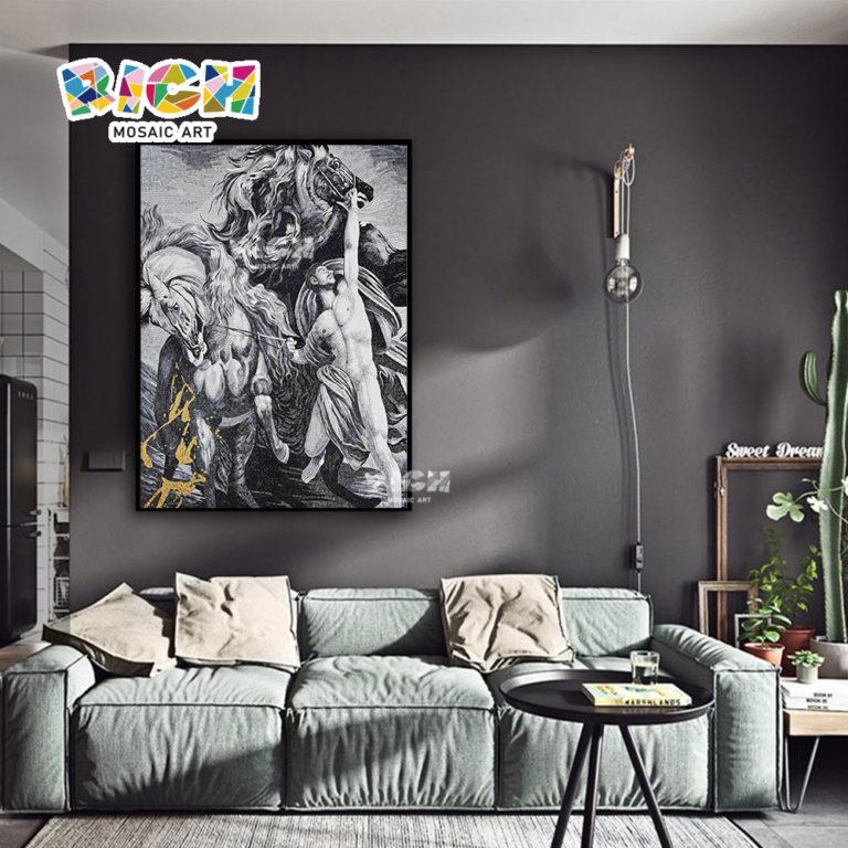 RM-FI14 Hero Holding Horse Art Mosaic Background Sitting Room Mural