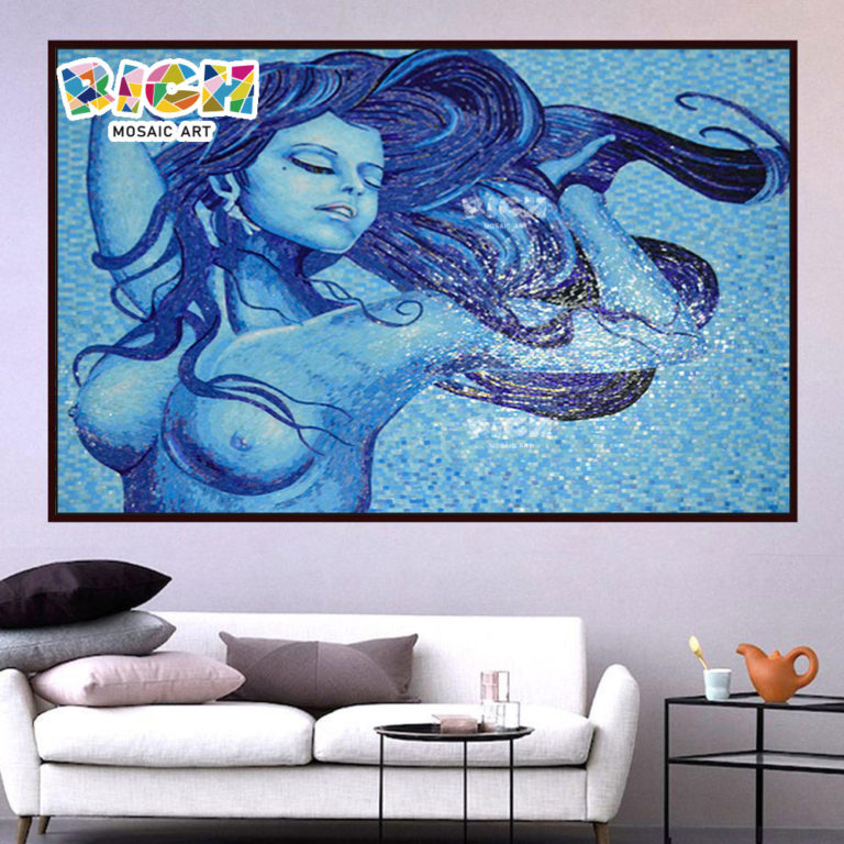 RM-FI17 Sexy Hot Nude Beauty Mosaic Artwork Hang Mural In Blue