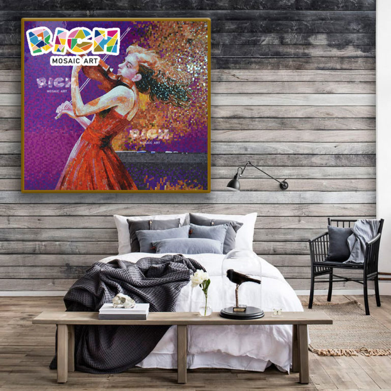 RM-FI20 The Girl That Boreal Europe Amorous Feelings Play Violin Interior Wall Decorate Mosaic