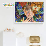 RM-FI23 Spanish Mask Girl High-end Glass Art Painting