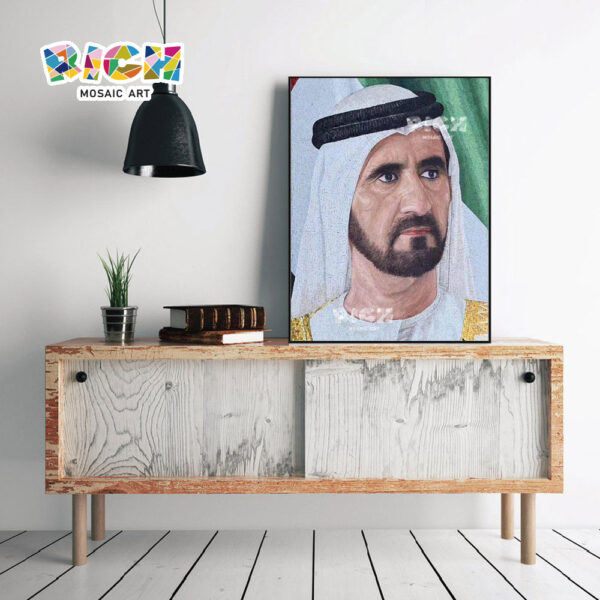 RM-FI26 Scheich von Dubai Muster Portrait Glas Wandbild Mosaik Backsplash
