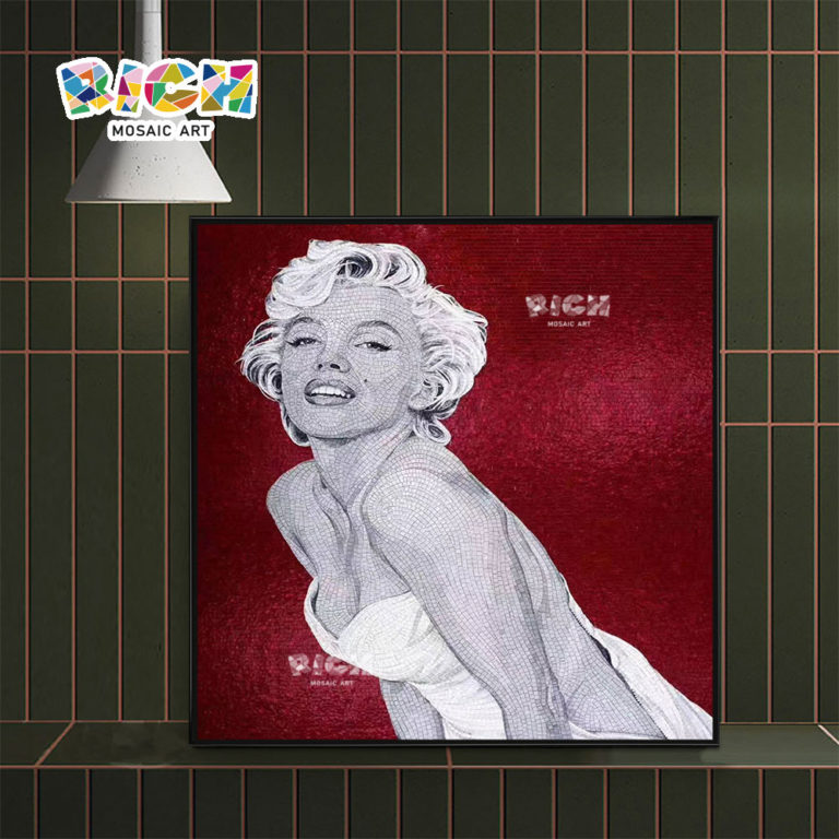 RM-FI27 Red Background Marilyn Monroe Pattern Mosaic For Shower Room