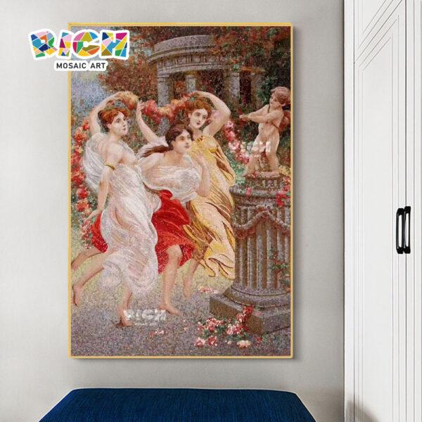 RM-FI28 mujeres estilo europeo occidental mosaico pared salpicadero