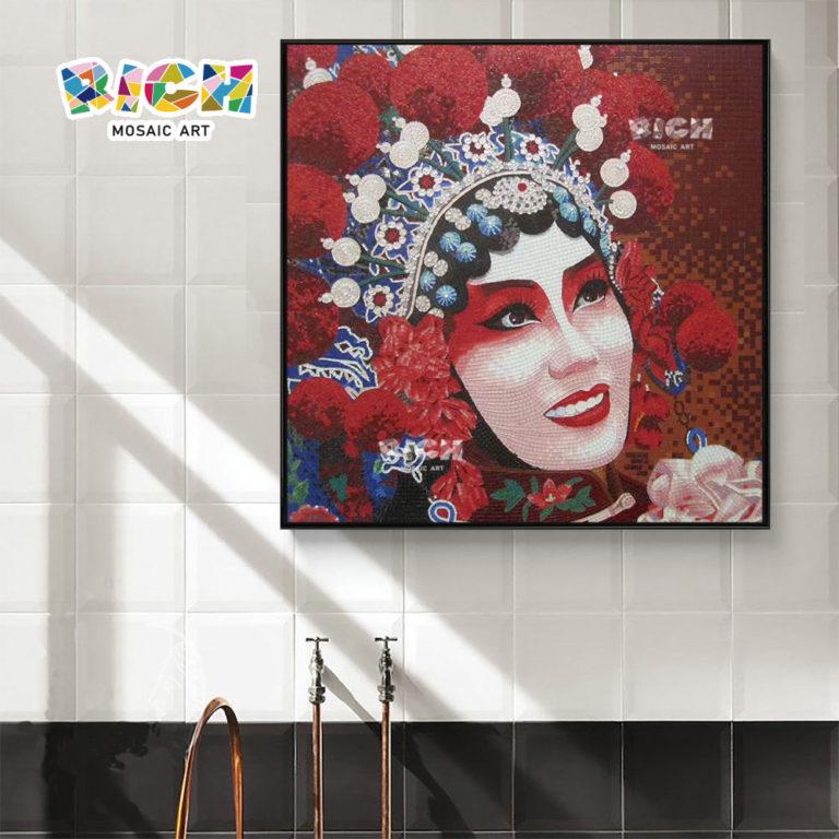 RM-FI29 main-hung cristal mosaïque de Peking Opera danseurs maison décorer oeuvre tuile