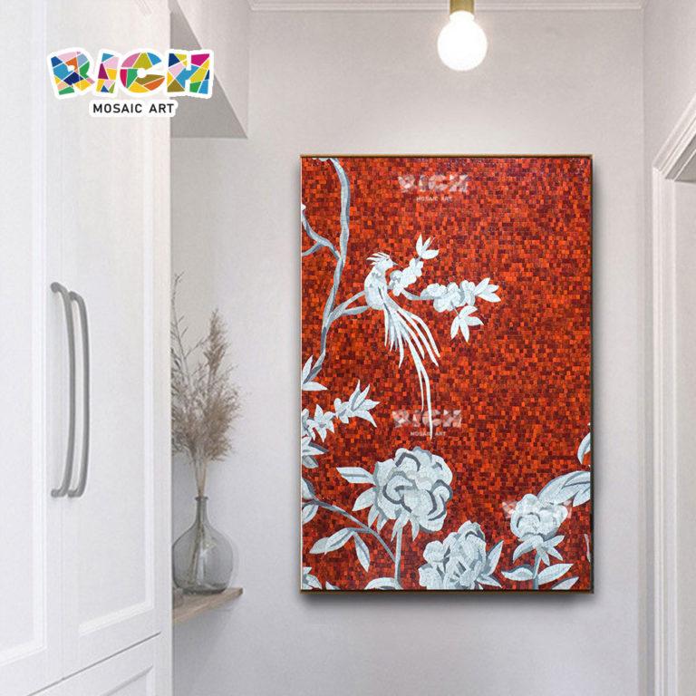 RM-FL72 flor roja vidrio azulejo hecho a mano arte mosaico