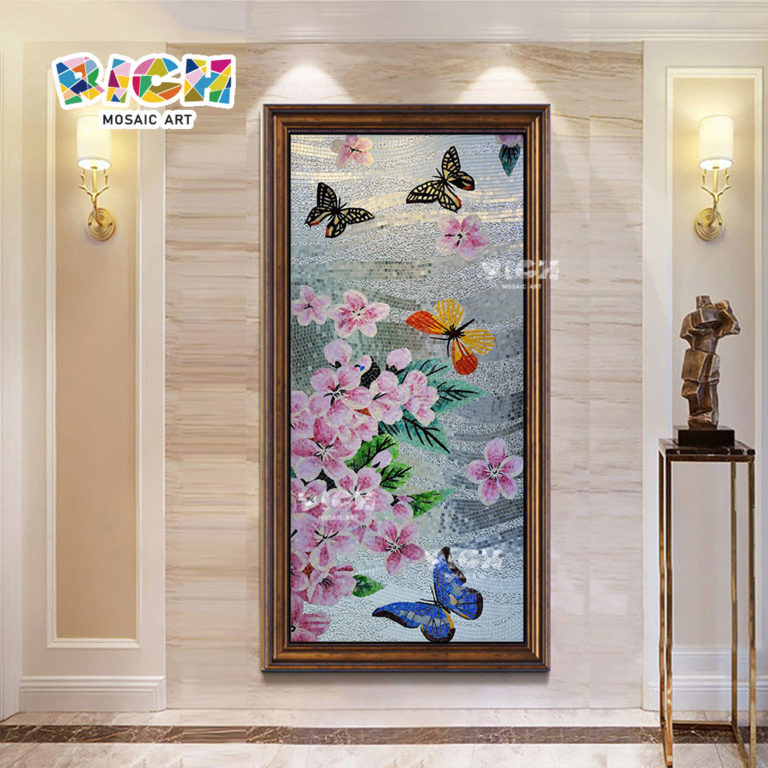 RM-FL74 onda prata fundo flor rosa borboletas mosaico parede