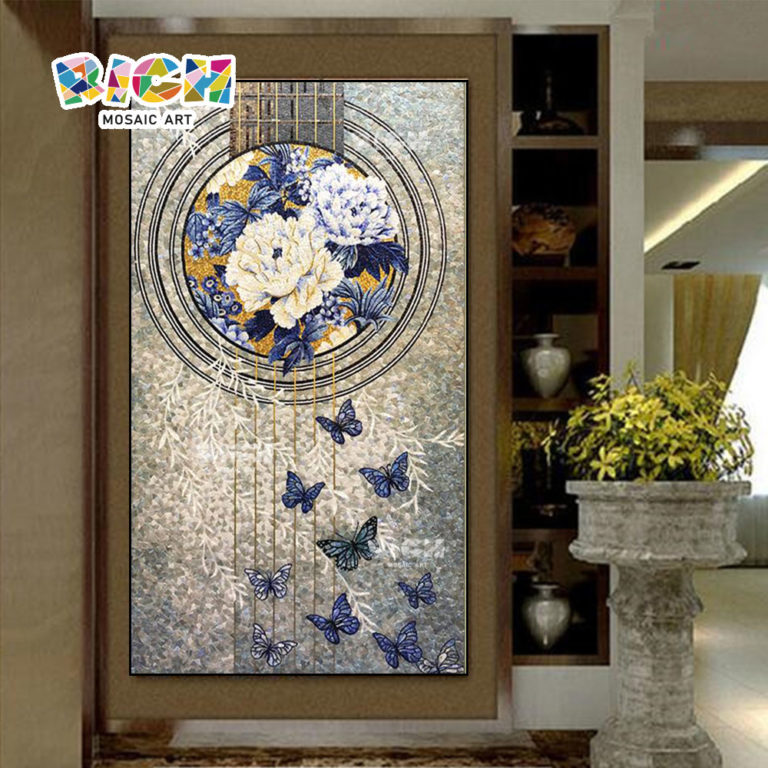 RM-FL75 Corridor Decorate Pattern Mosaic Flower Nice Look Mural