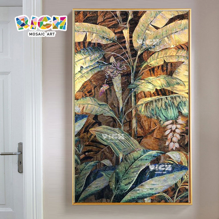 RM-FL76 Banana Tree Mosaic Art For Wall Decorate