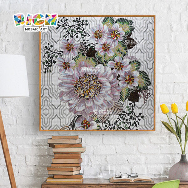 RM-FL78 Home Decor Wallpaper Murals Beautiful Flower Glass Mosaic Art