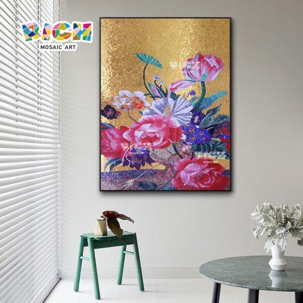RM-FL80 Style Western beau verre or fleur murales de tuile de mosaïque
