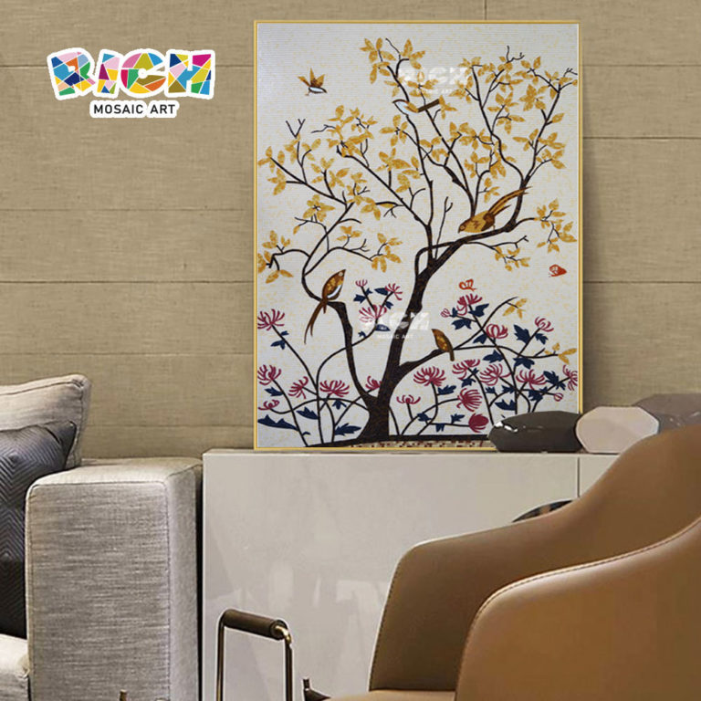 RM-FL81 Best Price Natural Flower Glass Mosaic Wall Art Mural