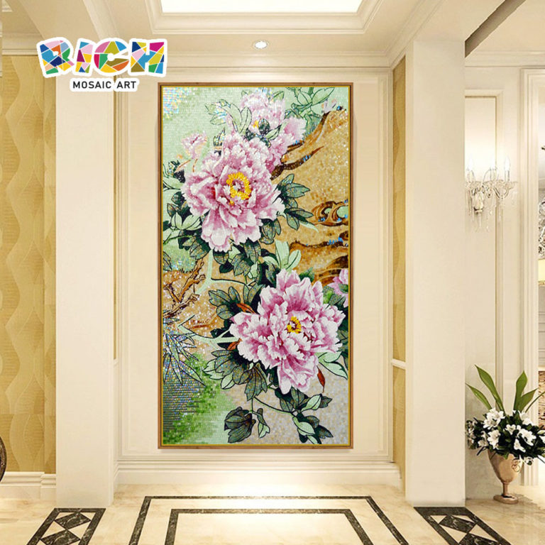RM-FL83 Flower Art Mural Mosaic TV Background Wallpaper Tiles