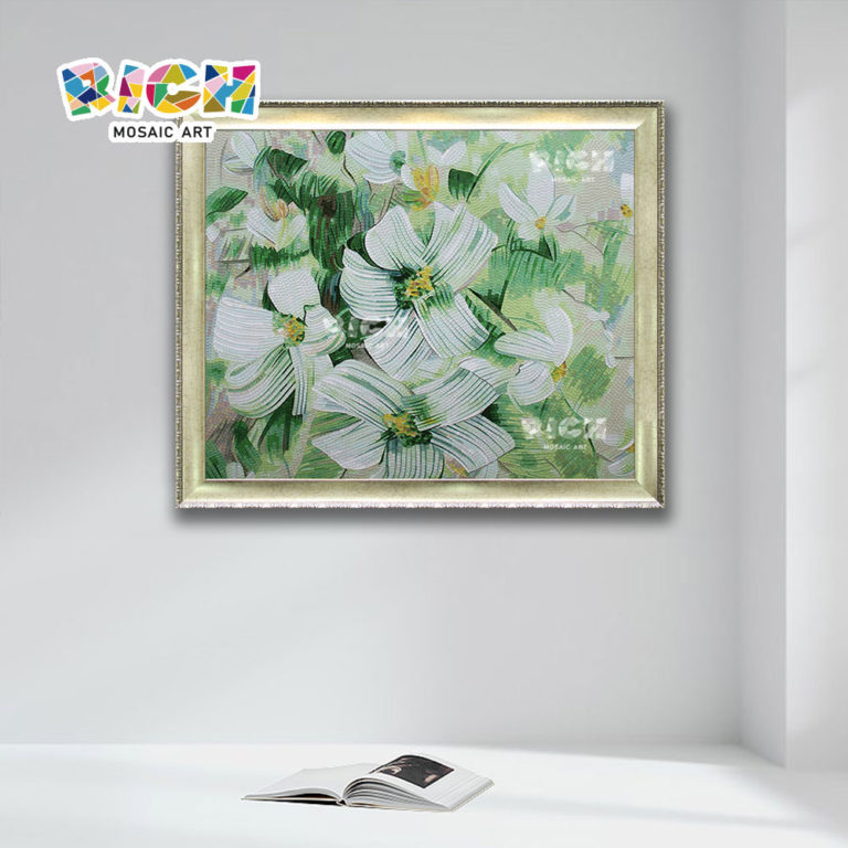 RM-FL86 Hand Cutting Beautiful Flower Design Crystal Glass Mosaic Mural