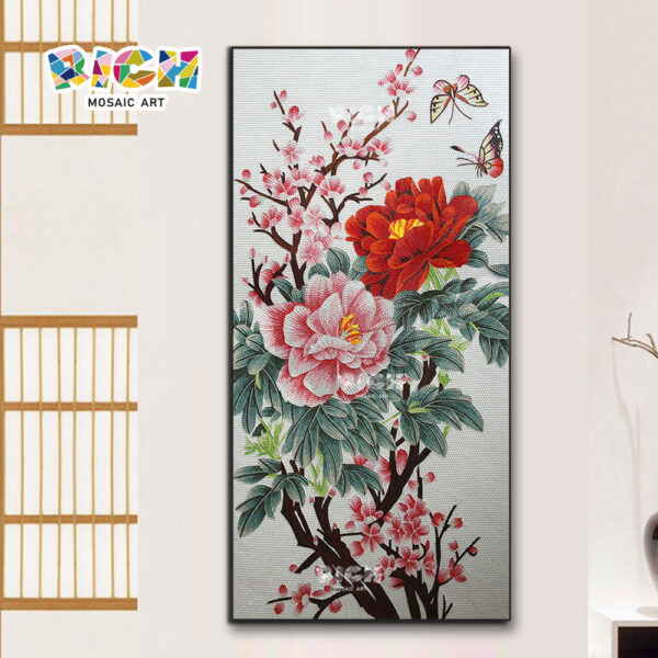 RM-FL88 Chinese Style Flower Glass Mural Art Panel