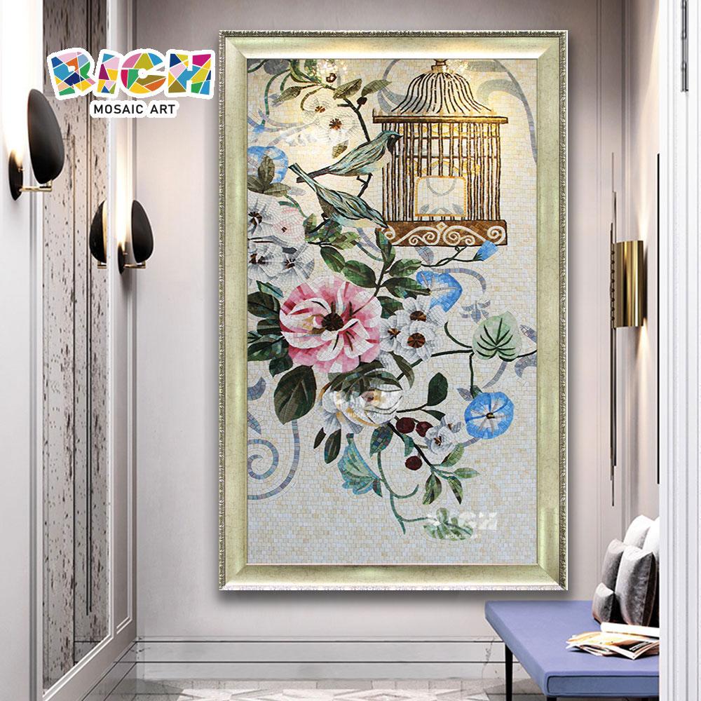 RM-FL89 Premium fleur carreau à la main verre mosaïque Art déco