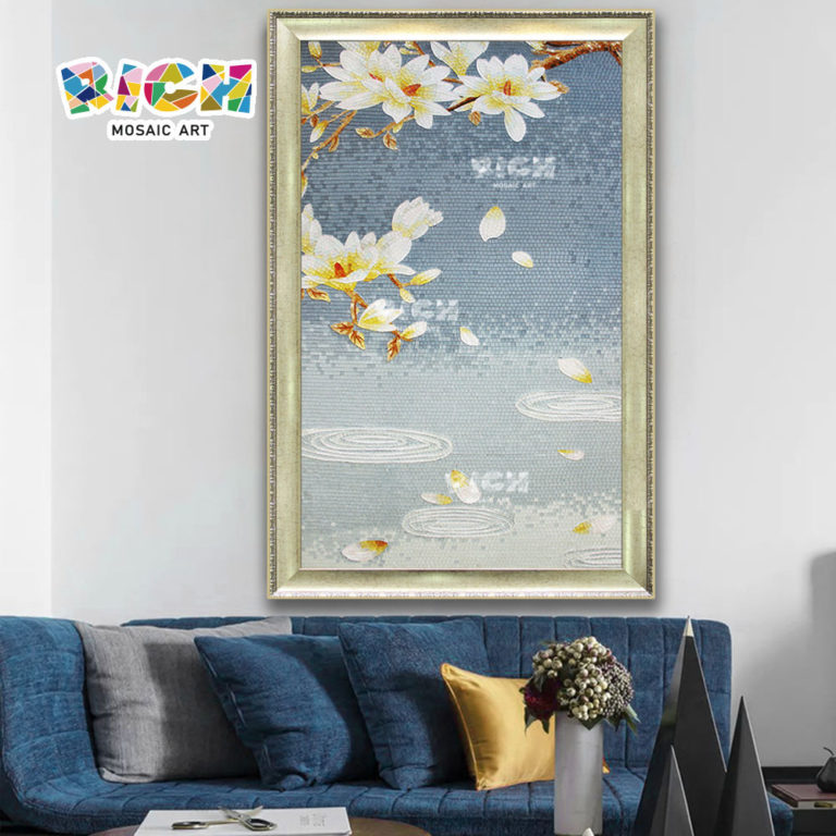 RM-FL90 Ancient Style Flower Picture Art Glass Mosaic Wall Art Murals