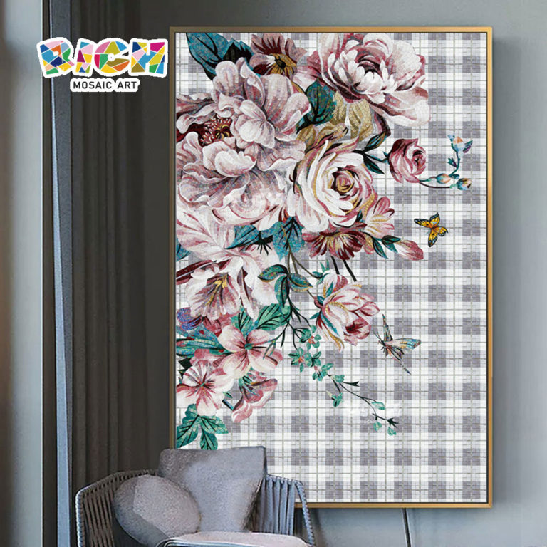 RM-FL92 Large Flower Mosaic Wall Mural Ideas