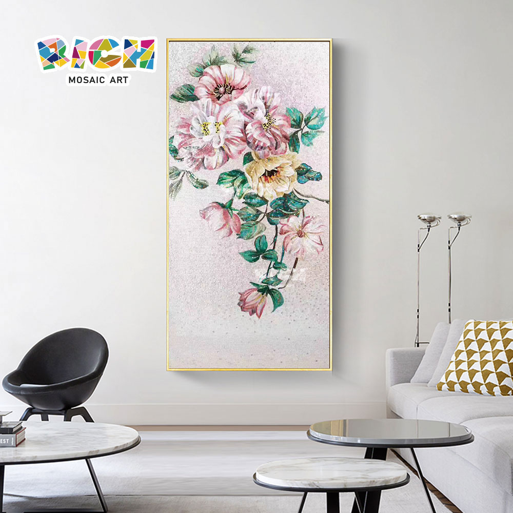 RM-FL94 Hot Sale Home Hotel Interior Deco Pink Flower Wall Mural
