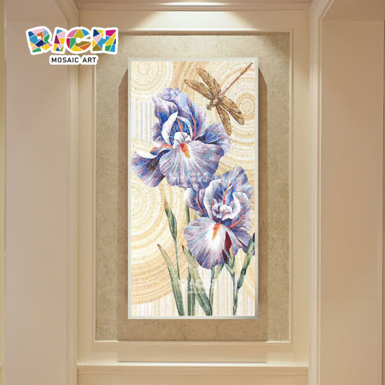 RM-FL95 Blue Flower Glass Handcrafted Mosaic Mural