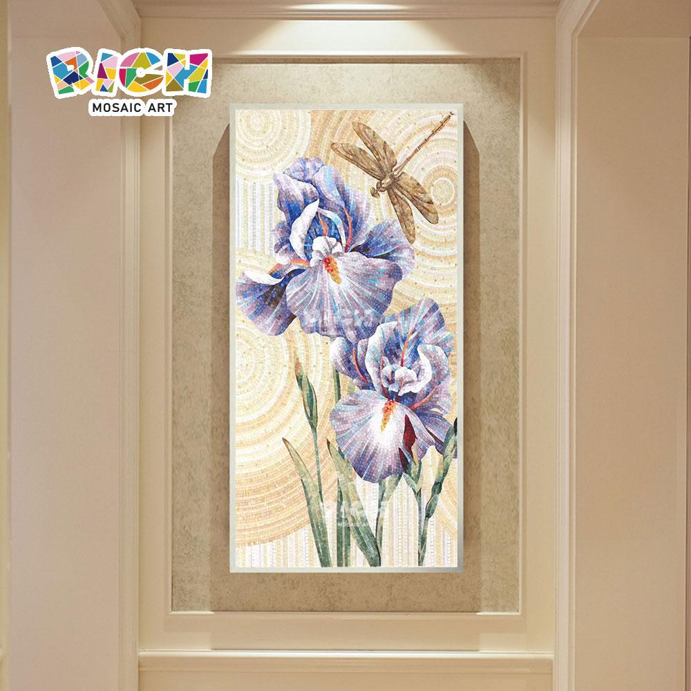 RM-FL95 blaue Blume Glas Handarbeit Mosaik Wandbild
