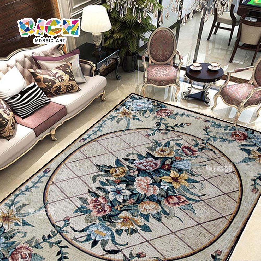 RM-FO01 Floor Flower Pattern Mosaic Art In Stone