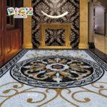 RM-FO03 conception plancher mosaïque médaillon de pierre à la main