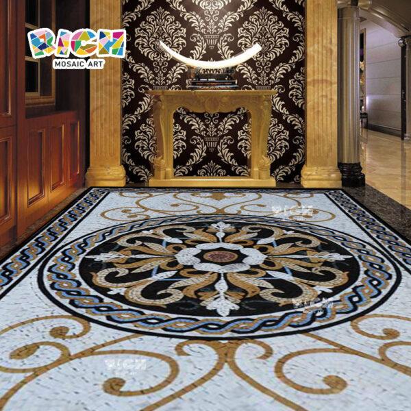 RM-FO03 Design piso mosaico pedra artesanal medalhão