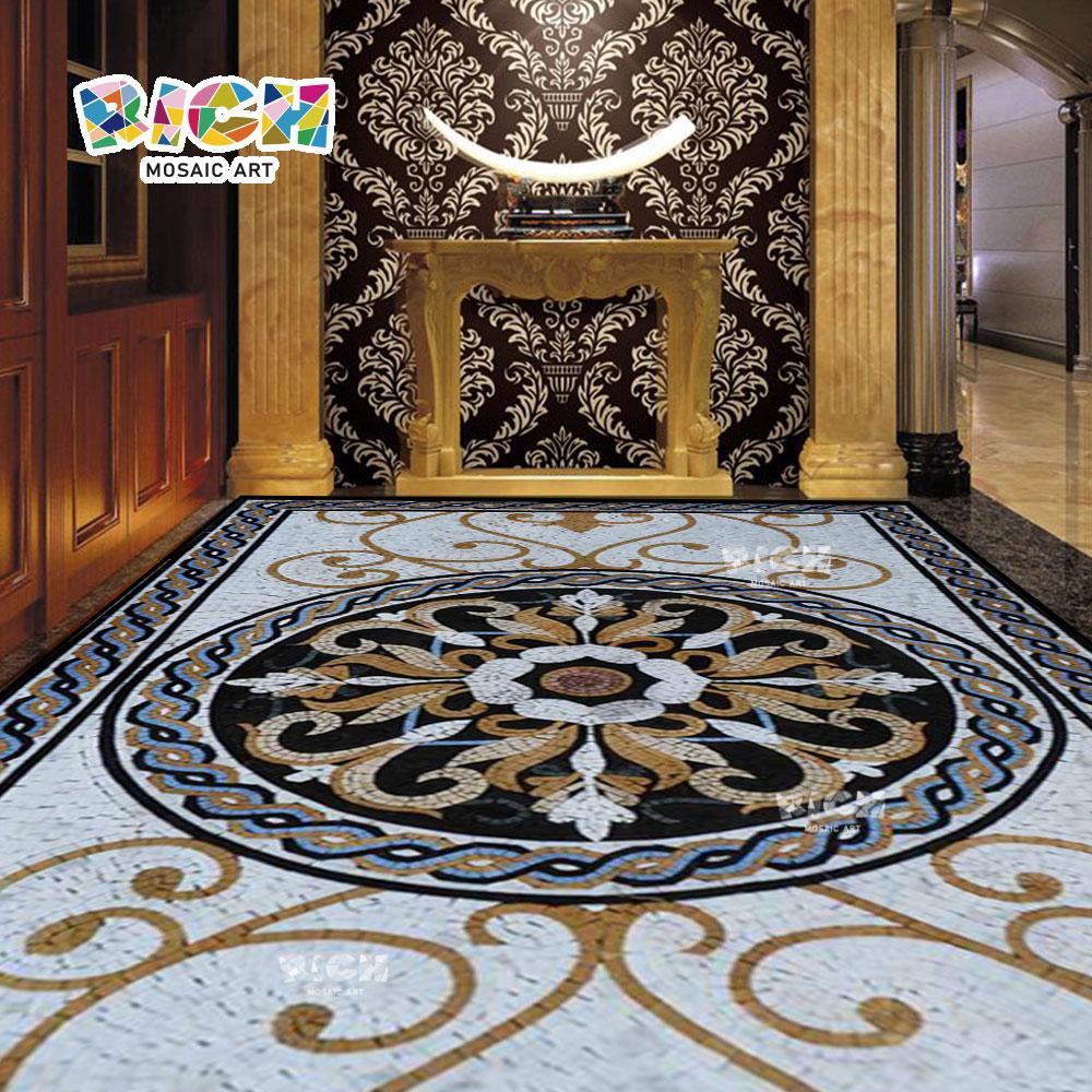 RM-FO03 diseño piso mosaico medallón de piedra hecho a mano